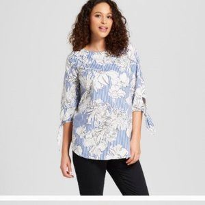 Isabel Maternity Floral Top Blue & White XS